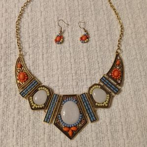 African Statement Necklace & Earrings Bohemian